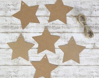 6 kraft stars tags