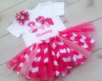 3 Piece Pinkie Pie My Pony Inspired Tutu Set with personalization embroidery of Name,  !st Birthday Set