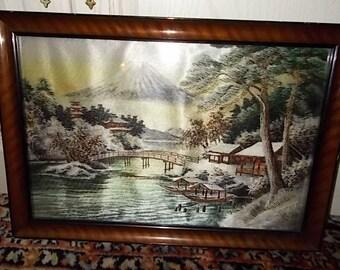 Japanese Embroidery Art Bridge Pagoda Buildings, Boats, Volcano Scene Asian, Embroidery, Asian Art Decor, Asian Decor, Asian Wall Art, :)s*
