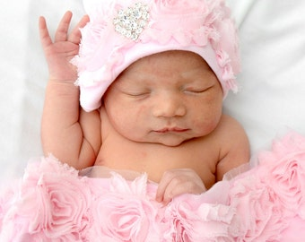 Pink Newborn Swaddle Blanket Pink Receiving Blanket with Pink Shabby Chiffon Flowers