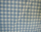 Vintage Fitted Sheet, Blue and White Gingham Check, Queen Bed Size, One Fitted  Sheet