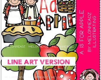 Apple clip art - LINE ART