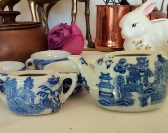 Doll's Teaset, Blue Transferware, Miniature China Teaset, Dollshouse Dishes