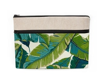 """iPad Pro 12.9"""" Case, MacBook 12"""" Purse, Macbook Pro 15"""" Sleeve, Surface Book Case with Zipper, HP Stream 13 - tropical palm leaves"""