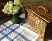 English Country Linen Tablecloth Picnic Mid Century 1950s Primary Colors Blue White Cotton