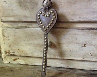 Leather Equestrian Horse Harness Studded Farmhouse Barn Hearts Large Brass Studs Wall Decor