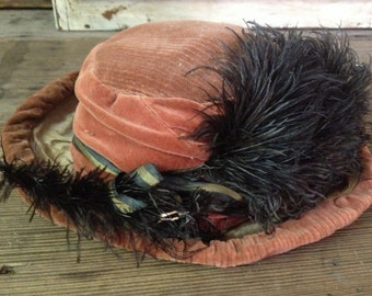 Antique Salmon Velvet Feathered Hat Victorian Style Striped Ribbon Bow