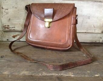 English Leather Travel Case Camera Bag Binoculars Cigar Brown Vintage