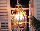 Chandelier floor Lamp ,vintage chandelier bird cage light  shabby chic chandelier, chippy,NOSTALGIC , French country,Made to order