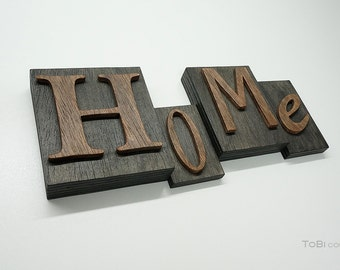 rustic home wooden letters on wooden block
