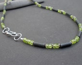 Natural Gemstone Peridot - Frosted Natural Black Basalt Volcanic Lava - 925 Sterling Silver Necklace