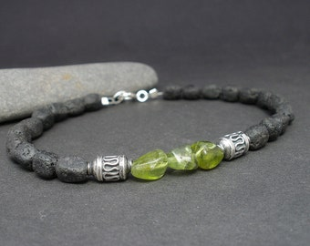 Peridot Men Bracelet, Lava Men Bracelet - 925 Bali Silver, Peridot Unisex Bracelet, Peridot and Lava, August Birthday Gift for Him