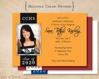 Printable Graduation Party Invitation - 4.25x5.5, 4x6, or 5x7 - Side Ribbon - Classic Grad Teen Photo - Your School Colors