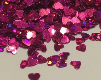 Tiny hot pink shinny heart confetti , 3 mm (23)