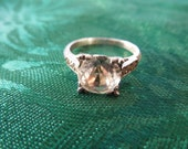 Vintage Silver Ring with Lareg Faux Diamond Stone , Size 5 3/4, in Nice Condition