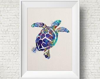 Sea Turtle Blue poster sea turtle print watercolor poster green turtle decor sea turtle art watercolor print watercolor poster wall decor