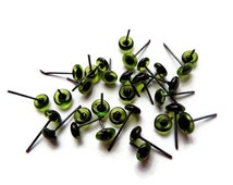10 PAIR 6mm Glass Eyes On Wire Pins for needle felted sculpture, teddy bears, felted animals, dolls, Ooaks green color