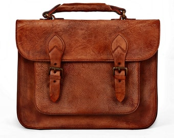 Leather Satchel Leather Briefcase Macbook Bag Travel Wallet Leather Laptop Bag Backpack with Handle for 15''Macbook