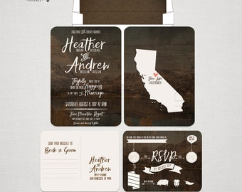 Rustic Wood Forest Wedding Invitation and RSVP postcard Destination wedding invitation California  - substitute your state -woodland wedding
