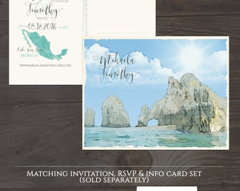 Destination Wedding Cabo San Lucas Mexico Beach Ilrated Wedding Invitation Save The Date Postcard Mexican Wedding
