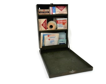 Military First Aid Kit Wall Mounted Metal with Original Paint and Handle by MacGill