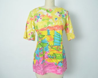 Vintage 1960s 60s Novelty Print Blouse Bright Pink Turquoise Yellow