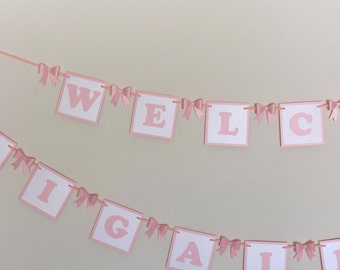 Baby Blocks Welcome Banner for Baby Shower, Sip and See or Home Coming in Pink or Blue