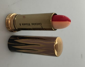 RARE Lipstick, GOUBAUD de Paris, 1950s Vintage, Two Toned, Red and White, Metal Tube, FrenchLipstick, Flame Design, Movie PROP, Never Used