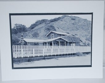photo card, black and white photography, Crystal Cove beach cottage