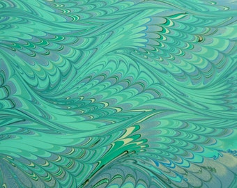 """Hand-Marbled Paper - Aquas, lavenders, blues: """"Ocean Wings"""". For Book endpapers, paper arts, collage, bookbinding."""