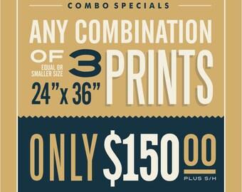 "3 - 24"" x 36"" Prints Combination"