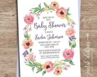 Wildflower Wreath Bridal Shower Invitation || Printable Invitation