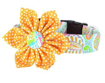 Orange, Pink, Aqua, Paisley Flower Dog Collar; Colorful Dog Collar Flower Set: Speckled Paisley