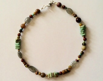 Womens Jasper and Turquoise Beaded Anklet 10 1/2 Inches
