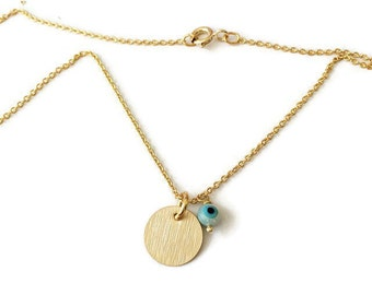 Tiny blank tag necklace . Gold plated chain necklace. Little tag necklace. Evil Eye and tag necklace. Everyday necklace