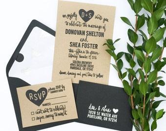 Wedding Invitation Stamp Suite - Wedding Invitation, RSVP, Address Stamp - Custom Wedding Invite - Invitation Stamp - Heart Monogram H6800