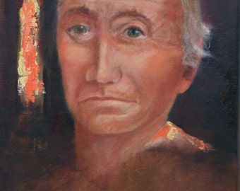 "Southwestern face 9""x12 wrap around canvas original oil painting Jan Smiley"