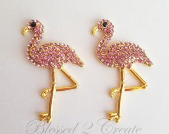 2 Pink and Gold Flamingo Rhinestone Embellishments