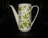 Vintage Mikasa Modesto Green Ivy Leaves Coffee Pot - No Lid - Would Make a Nice Flower Vase