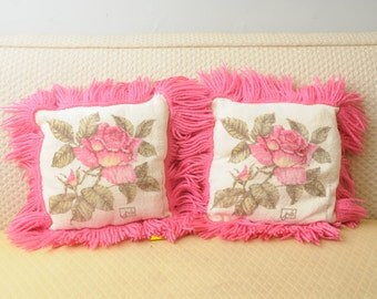 PAIR Vintage Terry Cloth Pillows Pink Roses with Fringe