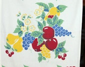 Vintage Wilendur Kitchen Dish Towel Cherries, Apples, Pears and Flowers 1950's