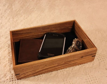 Men's Valet Box - Wooden Tray or Dresser Box - Figured Ash with Walnut Accent