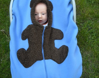 Infant Car Seat Cover, Baby Carseat Cover up to 40lb Baby... Brown Bear on Medium Blue, Smooth Texture Baby Car Seat Cover
