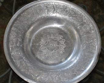 Vintage Hand Wrough Wilson Specialties Aluminum Tray/Bowl/Dish - Serving Plate - Embossed Flowers- Retro- Mid Century- Vintage Wedding Decor