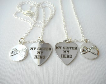 2 Pinky Promise, My Sister My Hero- Best Friend Necklaces/ Big Sis Lil Sis, Sister Jewelry, Sister Necklace, Sister Gift, Sorority Sisters