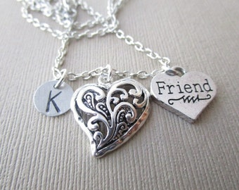 Friend and Heart, Initial Hand Stamped Necklace/ Best Friend Necklace, Friendship Gift, Best Friend Gift, For Her