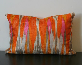 Decorative Throw Pillow Cover, Iman Orange Velvet Ikat Decorative Lumbar Cover, Toss Pillow, Sofa Pillow, Accent Pillow, Bedroom Pillow