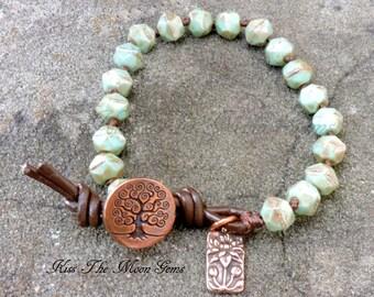 Knotted Bracelet -Czech Glass - Mint Green