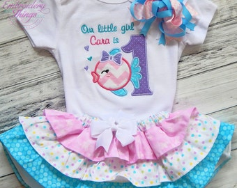Girls First Birthday Outfit, Personalized Girls 1st Birthday Outfit, 3 piece baby girls first Birthday Outfit, Bodysuit, Skirt, FREE Bow.