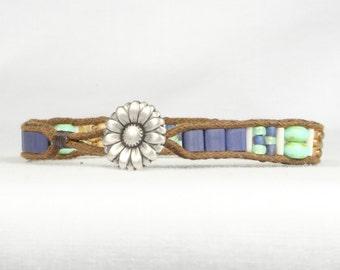Single wrap bracelet, Blue and mint green bracelet, Flower button, CarolMade Sw18